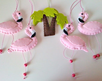 Flamingos Baby Crib Mobile with music box