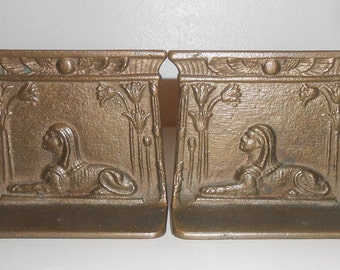 Antique Bookends Egyptian Revival Sphinx Bronzed Bradley & Hubbard Manufacturing Company 1920s