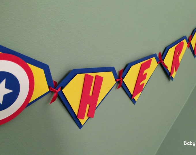 Super Hero Pennant Banner - Superman Captain America Batman Happy Birthday red blue yellow comic die cut custom superhero marvel inspired