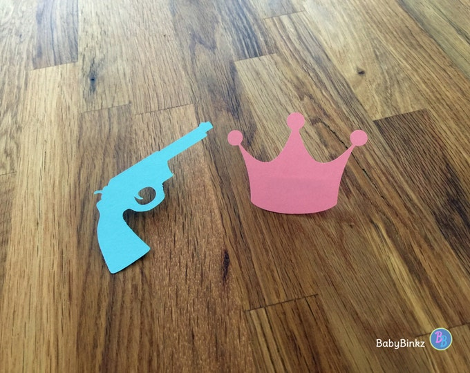 Party Pins: Guns or Glitter Gender Reveal Baby Shower - Die Cut Pink Girl Crown & Blue Boy Pistol Rifle vote game