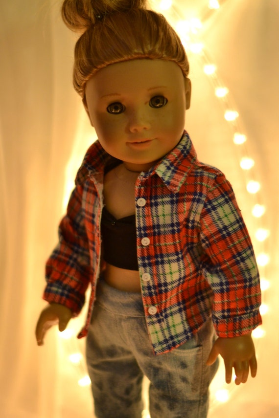 Plaid Flannel Button Up Shirt for American Girl Dolls