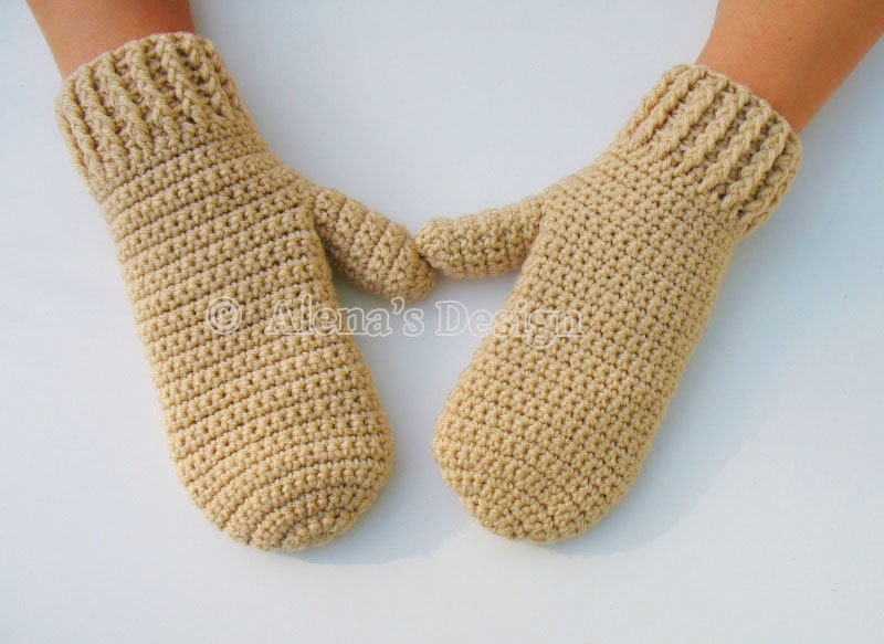 Crochet Pattern Gloves : Crochet Pattern 105 Crochet Mitten Pattern for Adult Mittens