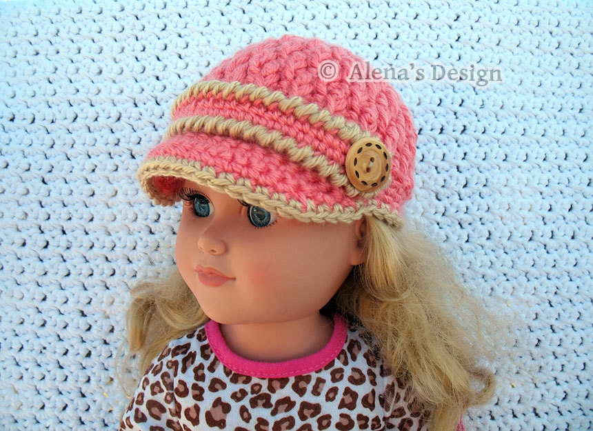 Knitting Pattern For A Dolls Hat : Crochet Pattern 122 Crochet Hat Pattern for 18 inch Doll
