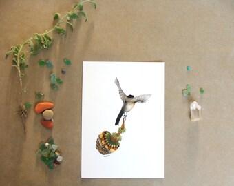 "Quilted Bundle: Bird III  // 5""x7"" Art Print - Forest Illustration"