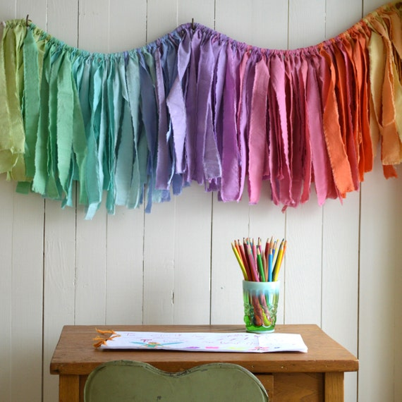 Banners For Bedrooms: Mini Gypsy Garland. Torn Fabric Banner. Nursery Decor