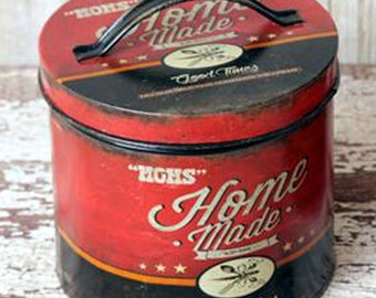 Primitive Style Ice Cream Advertising Tin Kitchen Storage Canister Vintage Look Sm