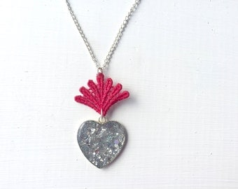 Silver Glitter Heart and Red Lace Statement Necklace