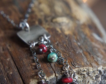 "30% OFF SALE // Sterling Silver square necklace with tassels ruby red and teal  - 18"", 20"" or 24"" long"