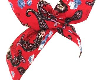 Red with black Paisley print Rockabilly wire Headband - Bandana
