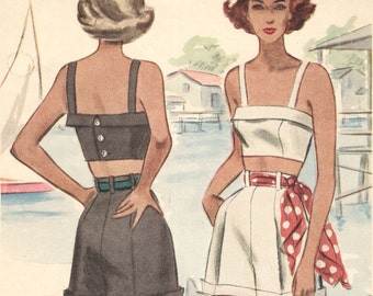 Vintage 1940s sporty top and shorts pattern -- McCall 7262