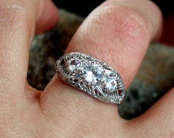 Moissanite Engagement Ring 3 Gem Stone Antique Filigree .75ct 5mm Pheme Custom White-Yellow-Rose Gold-10k-14k-18k-Platinum