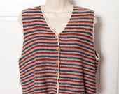 90s Sleeveless Button Vest - Bass - wooden buttons - M