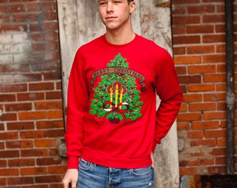 80s 90s Christmas Sweatshirt - Lee - M