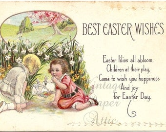 Antique Easter Postcard Children with White Rabbits & Decorated Eggs Chromo Post Card from Vintage Paper Attic