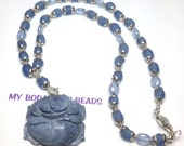 "Handmade 20"" CARVED Blue Rose PENDANT NECKLACE Frosted Blue Beads With Silver Bead Caps Silver Hook Closure"