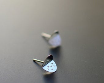 Sterling Silver Earrings, Silver Ladybug, Modern, Contemporary, Ear Studs