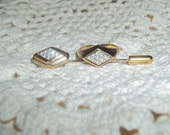 Vintage Avon Signed Set Shiny Clear Rhinestone Tie/Lapel Pin & Golden Rhinestone Ring
