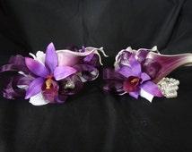 Plum picasso calla lily orchid pearl wristlet, pearl wrist, corsage, purple corsage, eggplant purple calla lily