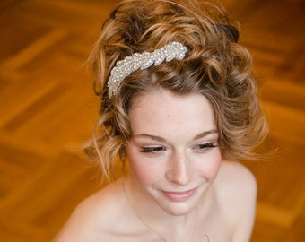"Headpiece, Rhinestone Hairband, bridal headpiece, bridal headband, Hair jewelry,Style ""Tilda"""