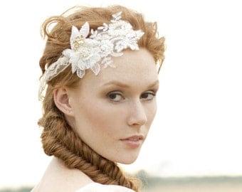 "Lace Hair Piece , Wedding Hair Accessory, Bridal Headpiece, bohemian Style "" Gold Bridal 1"""