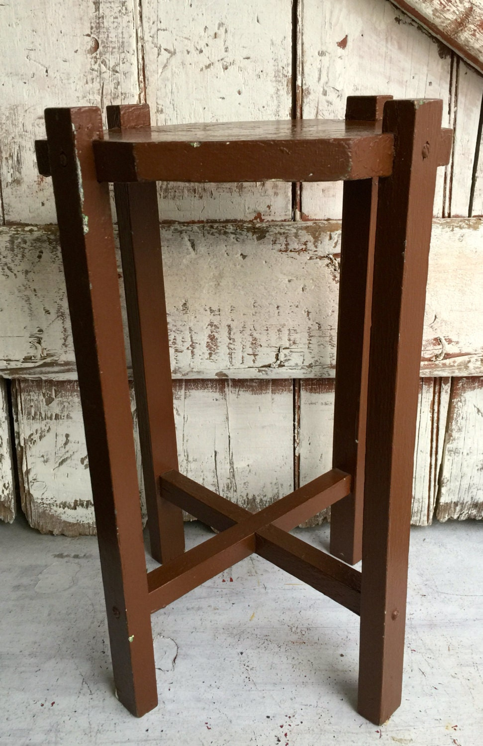 Antique wooden plant stand small parlor table wood side