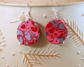 Heart Earrings made of Polymer Clay