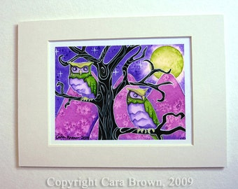 Great Horned Owls matted art print Watercolor painting Fantasy Art