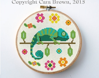 Chameleon Cross Stitch Pattern Instant Download Needlepoint cute lizard and flowers