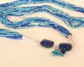Sleeping Beauty and Lapis Native American Inspired OOAK Multi Strand Seed Bead Necklace