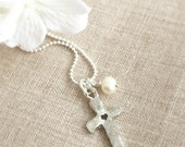 Chunky Pewter Cross with Stamped Heart . Pewter Jewelry . Cross Necklace . Religious Jewelry . Faith Jewelry . Baptism . Shay Designs