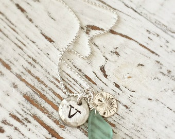 Beach Necklace . Personalized Necklaces . Gift For Her . Beach Girl . Sand Dollar . Personalized Jewelry . Beach Necklace . Pewter