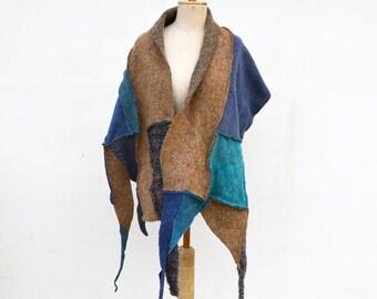 fancy felt and knit patchwork shawl, wearable art blue grey beige tan, cappuccino asymmetrical unique OOAK, soft felted wool, geometric 162