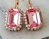Rose gold drop earrings,pink earrings,crystal earrings,Swarovski,rectangle drop earrings,Octagon earrings,Bridal earrings,Bridesmaids gift