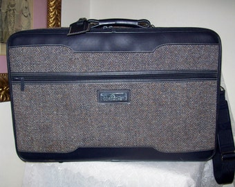 Vintage Gray Tweed Suitcase Luggage w/ Shoulder Strap by Jordache Only 9 USD