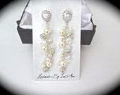 Pearl cluster earrings - Swarovski pearl earrings - Swarovski fireballs and clear crystals  - Bridal jewelry - Long - Brides earrings