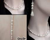 Pearl backdrop necklace ~ Pearl and rhinestone necklace ~ Brides pearl necklace ~ Statement necklace ~ Formal Jewelry ~ Stunning ~ GINA ~