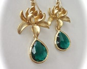 Gold lotus flower earrings ~ Emerald green ~ Czech glass ~ Lotus flowers ~ Gold filled ear wires ~ May birthstone ~ Birthday gift