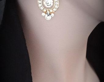 Gold crystal earrings ~ Bridal earrings ~ Wedding earrings ~ Rich ~ 14k gold over sterling posts ~ Mother of the bride earrings ~REBECCA