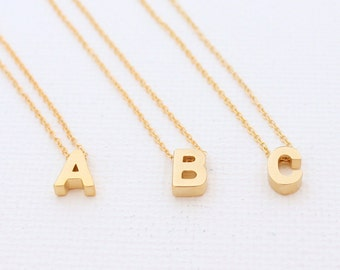 Mini 3D Initial Upper Case Charm Necklace - Gold Rose Gold Silver Rhodium