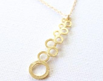 Bubble Bar Gold Necklace - 18k Gold Pendant Charm Necklace