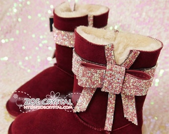 New Year Sales 30% off -  Bling and Sparkly Wine Red Winter BOOTS w Blinged BOWS