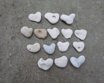 15 pcs. Beach Heart Stones. Thank you Stones. Heart Shape Rocks. I Love You Rock Pebble. Weddings Favors Alternative Guestbook. Beach Supply