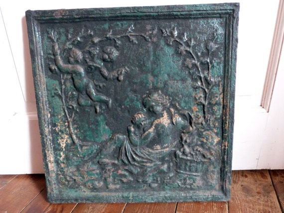 Antique French Fireplace Mantle Cover Screen Decor W Cherub