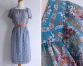 Vintage 80's Flutter Sleeve Teal Green Floral Square Neck Dress M or L