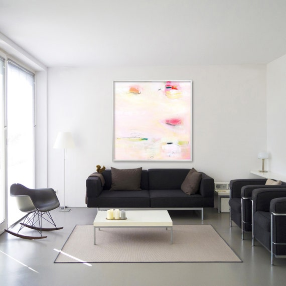 Pink Wall Art GICLEE Print Of Acrylic Painting Large Art Pastel