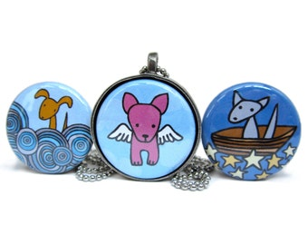 Angel Dog Necklace Set - Flying Dog Pendant - Dog in the Clouds Necklace - Set of Three Interchangeable Magnetic Dog Necklaces