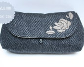 Curvy clutch with handstitched rose - SALE!