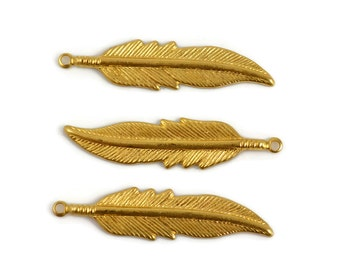 10 Brass Feather - Small Raw Brass Feather with Loop