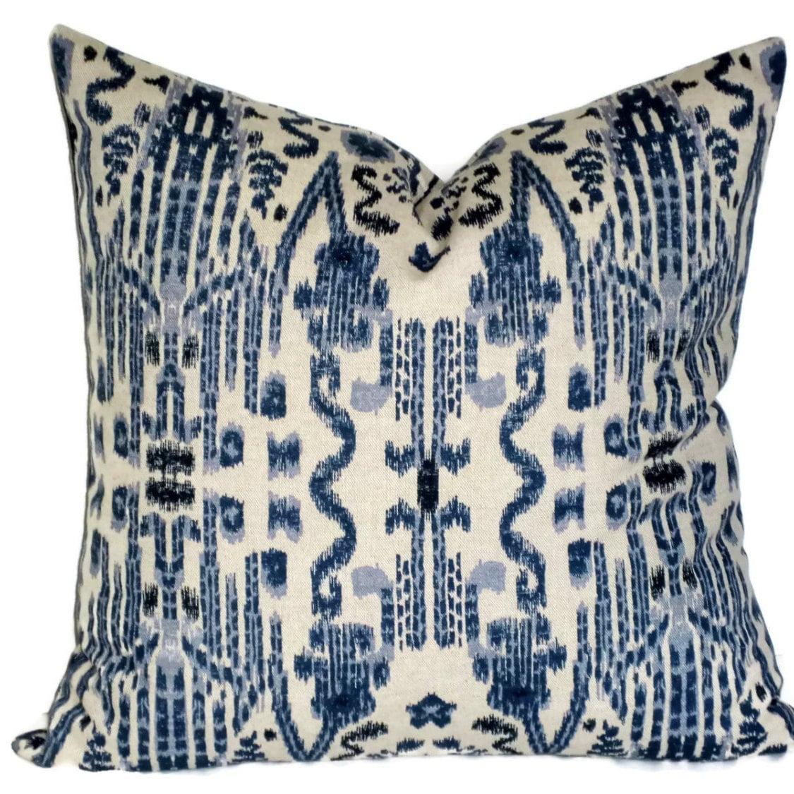 Decorative Pillows Indigo : Ikat Pillow Indigo Blue Ikat Decorative Pillow Cover 18x18