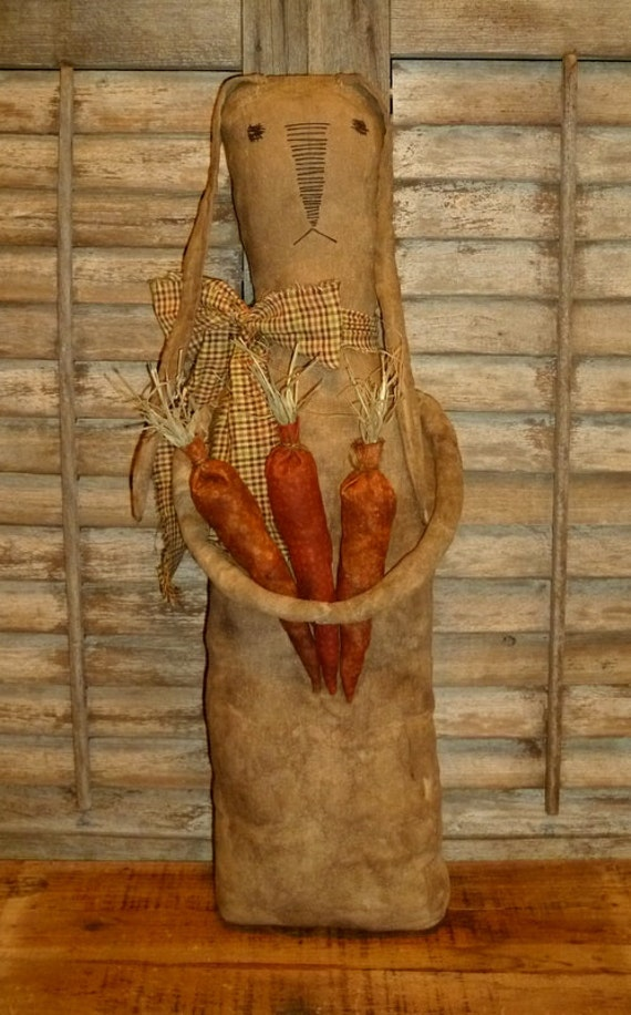 Large Primitive Easter Bunny Rabbit w/Carrots - grungy & rag stuffed